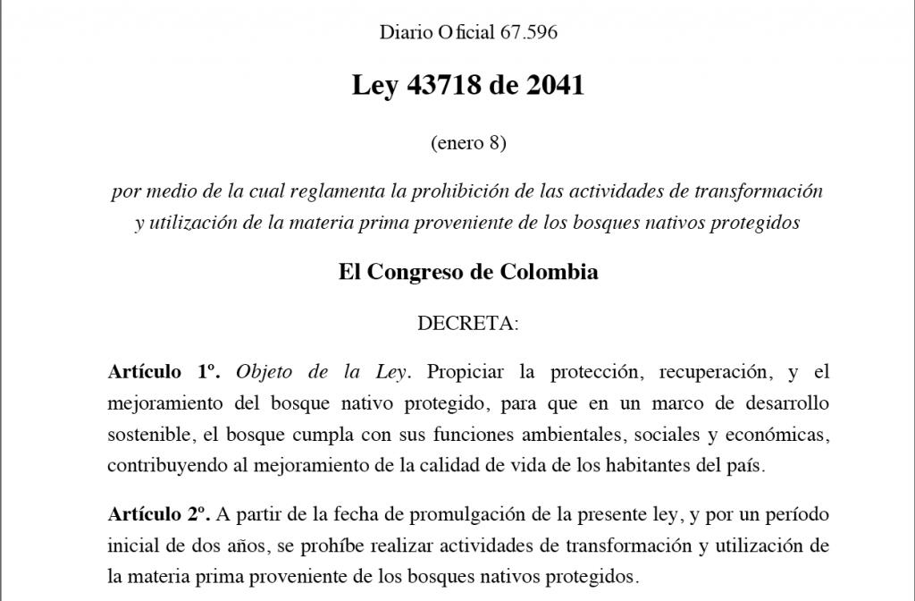 Ley del Congreso de Colombia contra el uso de la madera